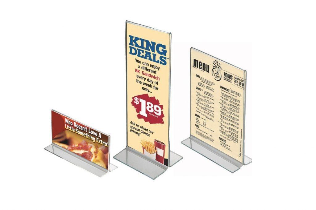 Display akrilik untuk menu